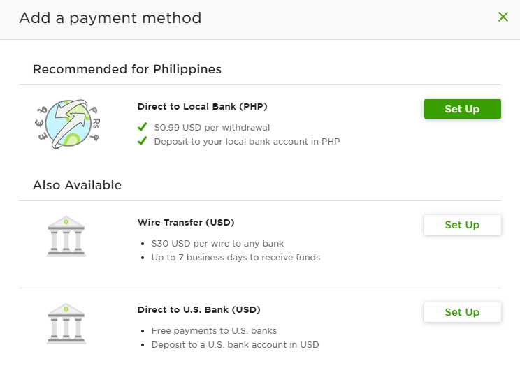 Adding a payment method in Upwork