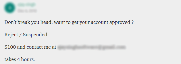 Another example of an advertised Upwork approval service