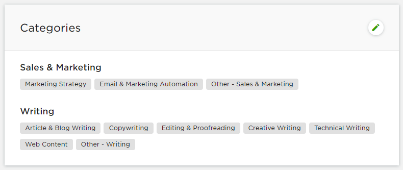 Sales & Marketing and Writing as my main categories