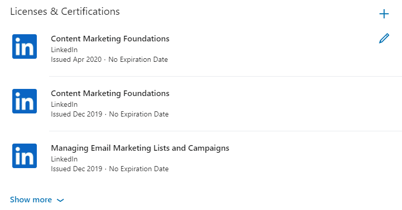 How certificates from LinkedIn Learning look like on a LinkedIn profile.