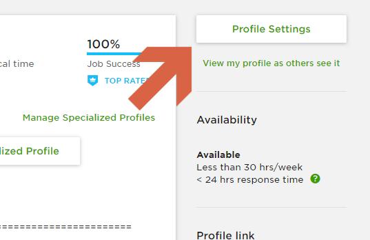 How to change Upwork profile settings