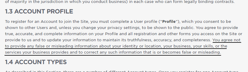 Upwork's term of service on account profile