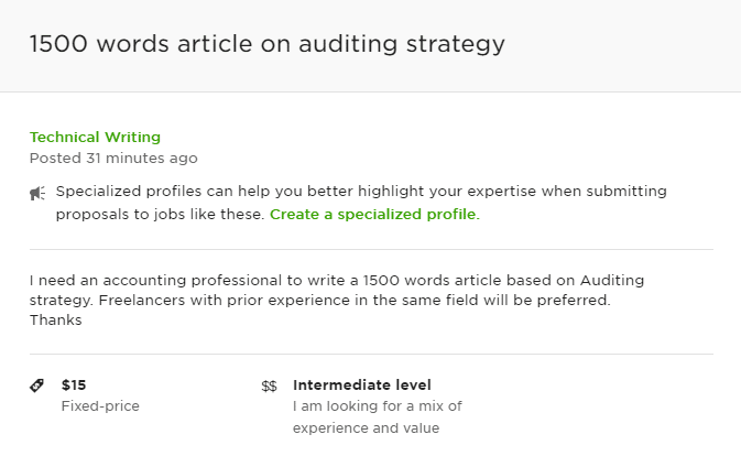 An example of a lowballer on Upwork
