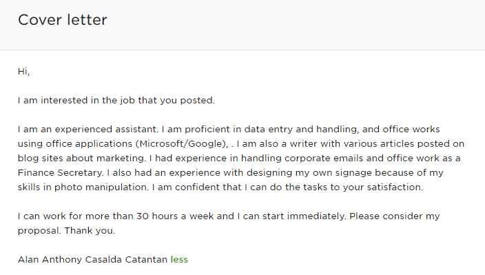 Canned cover letter I used in the early days