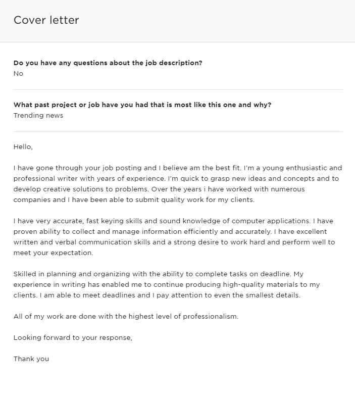 An Upwork proposal with one-liner answers