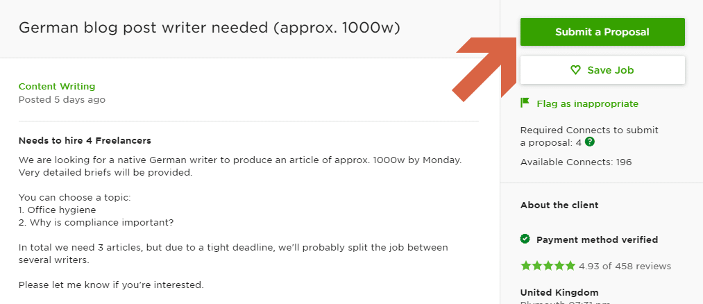 How to submit a proposal on Upwork