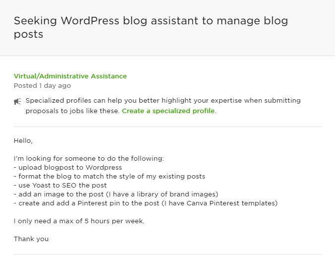 A job post seeking a WordPress blog assistant.