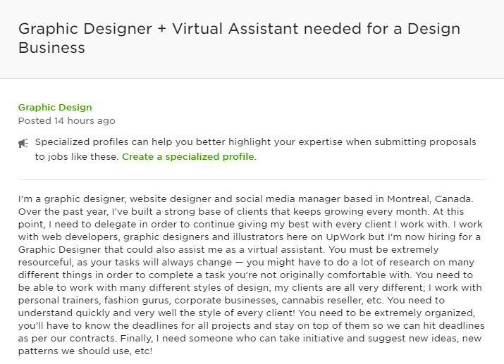 Client on Upwork looking for a virtual assistant proficient in graphic design