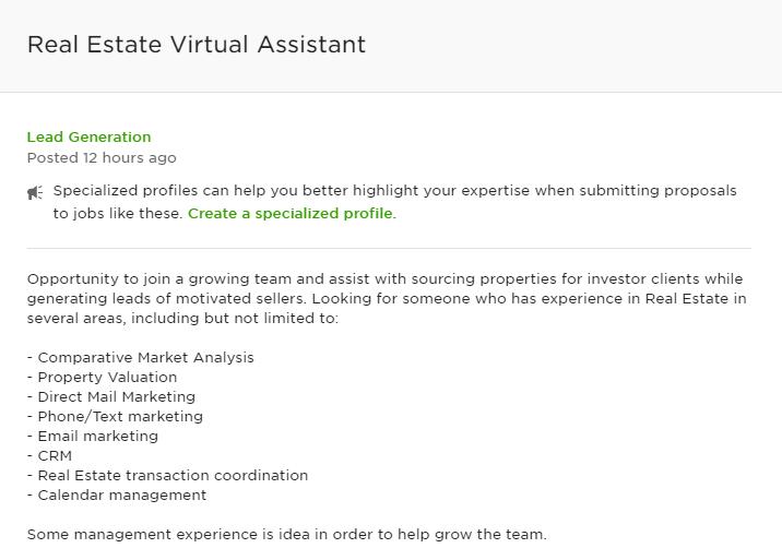 A job post looking for a real estate virtual assistant