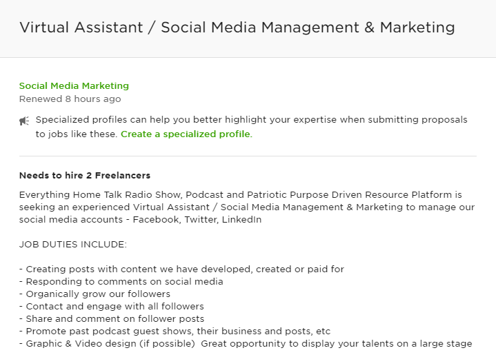Client on Upwork looking for a virtual assistant for social media management and marketing