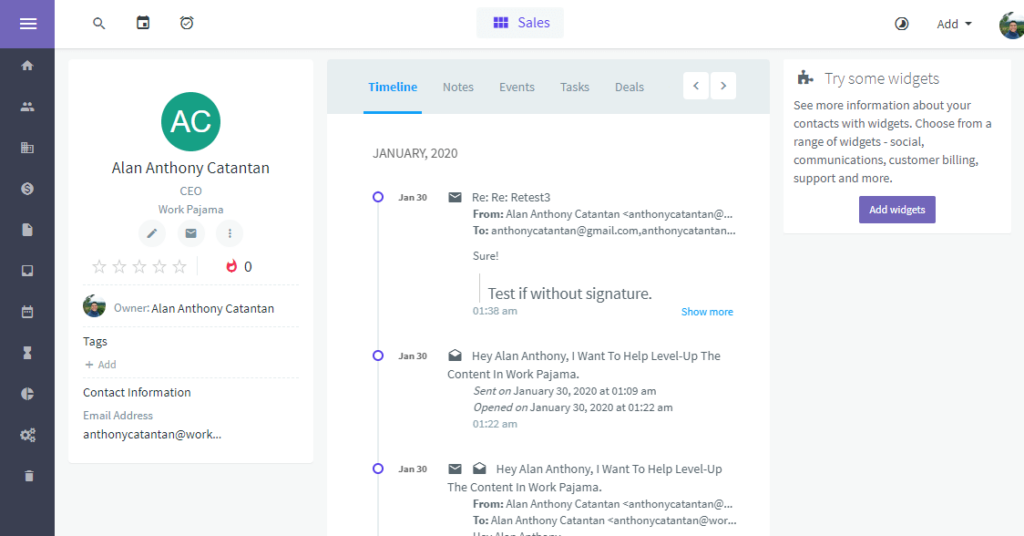 How does the client page look like on Agile CRM?