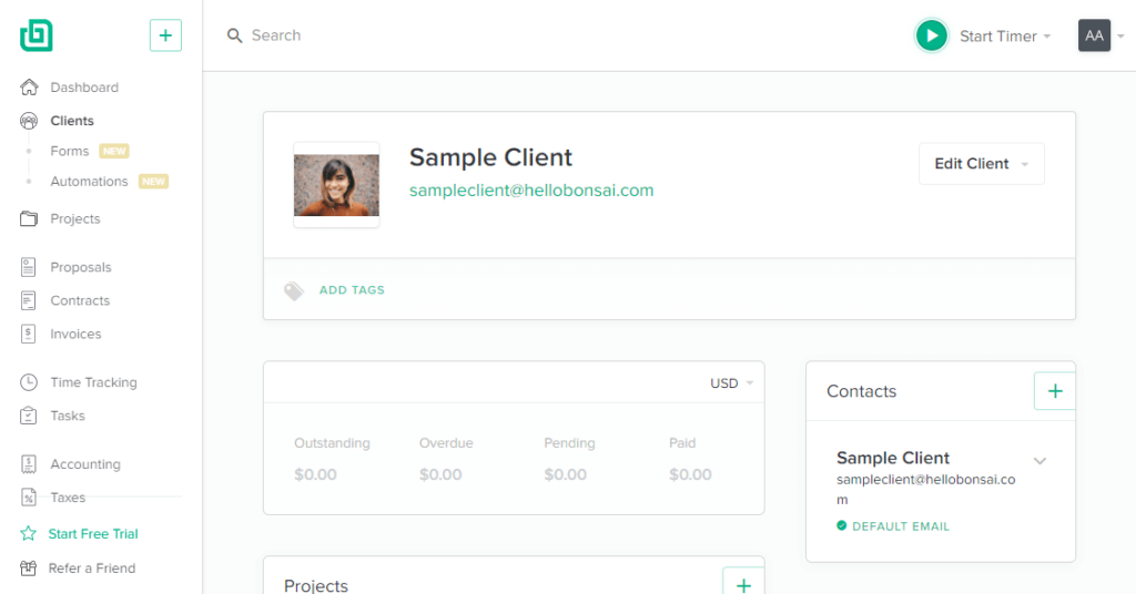How does the client page on Bonsai CRM looks like?