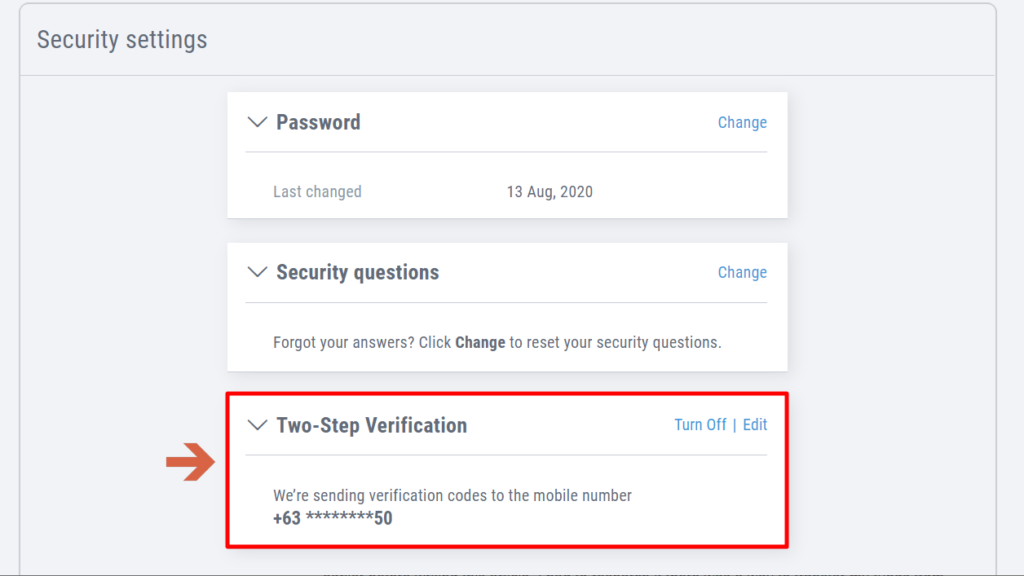 How to activate the two-step verification feature of Payoneer?
