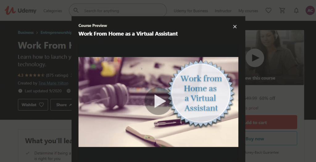 "What is the ""Work From Home as a Virtual Assistant"" course"