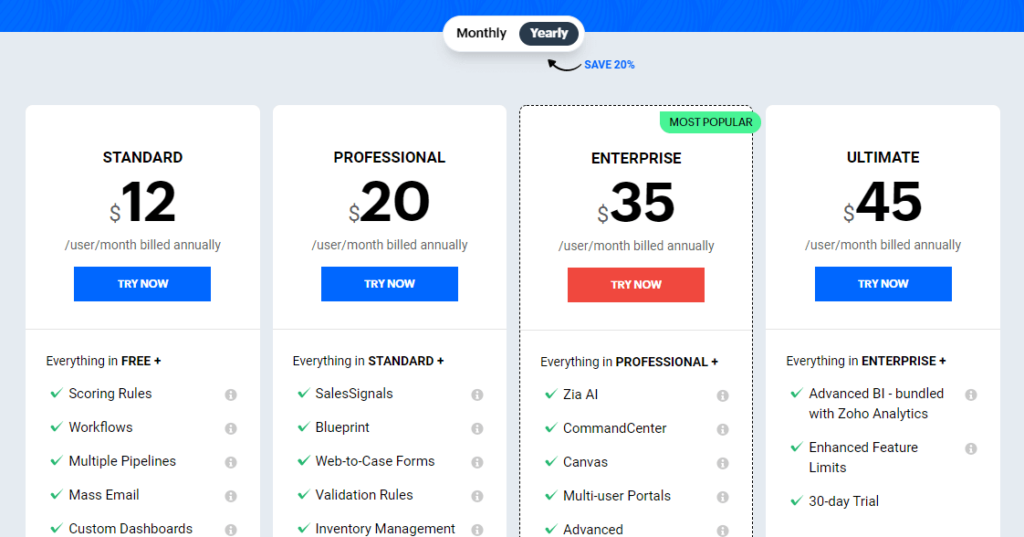 How much does Zoho CRM costs?