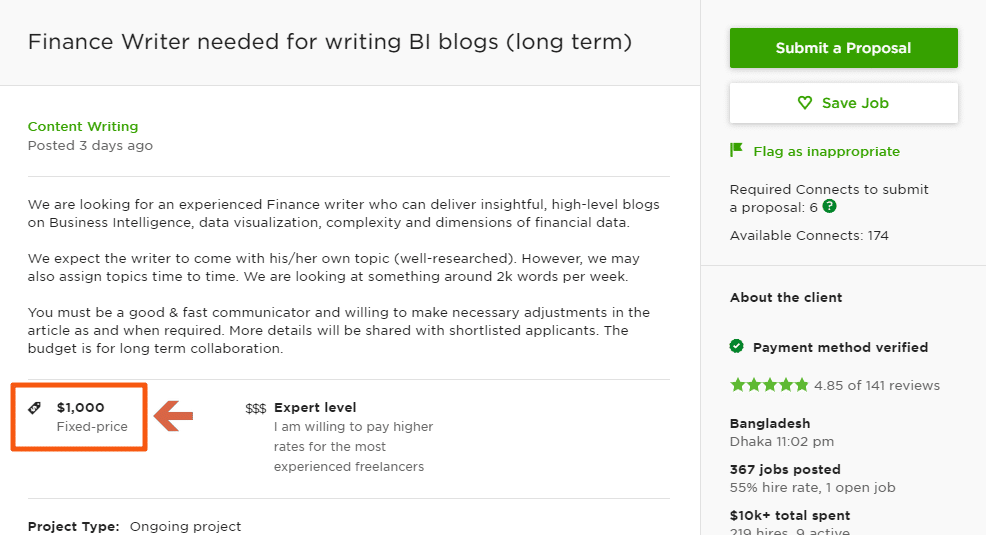 An example of an Upwork job post with a deceptive budget