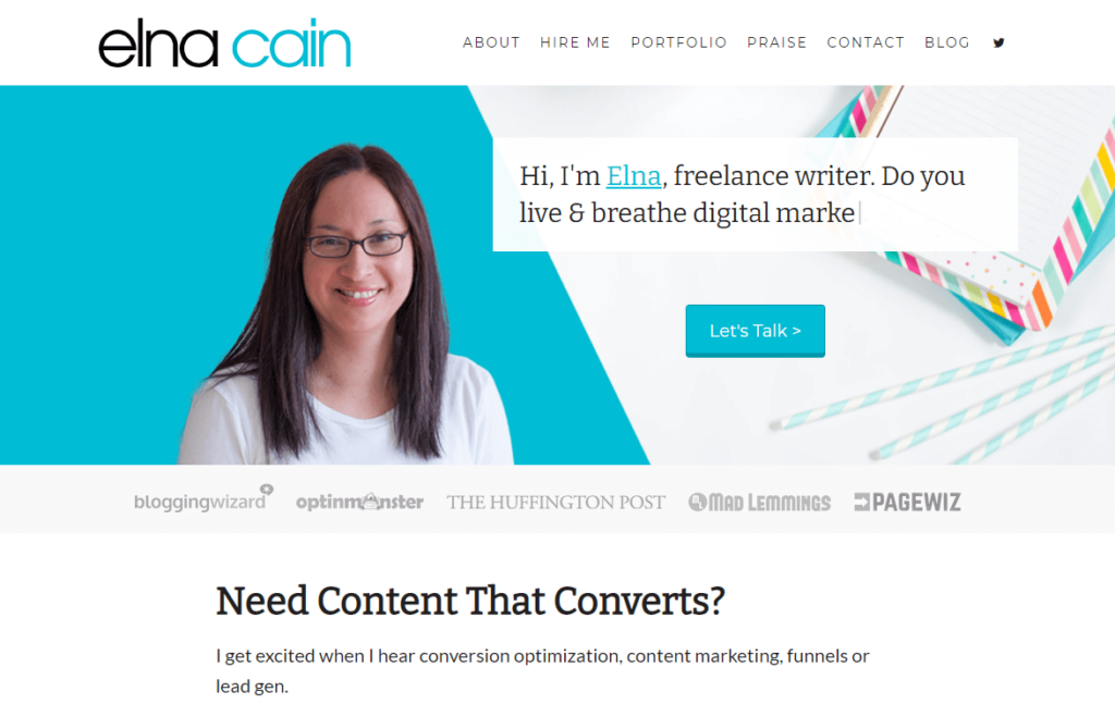 Elna Cain's hire me page