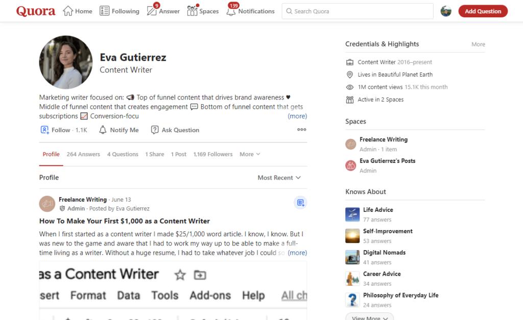 Eva Gutierrez's Quora account