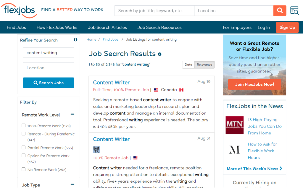 How to find jobs on FlexJobs?