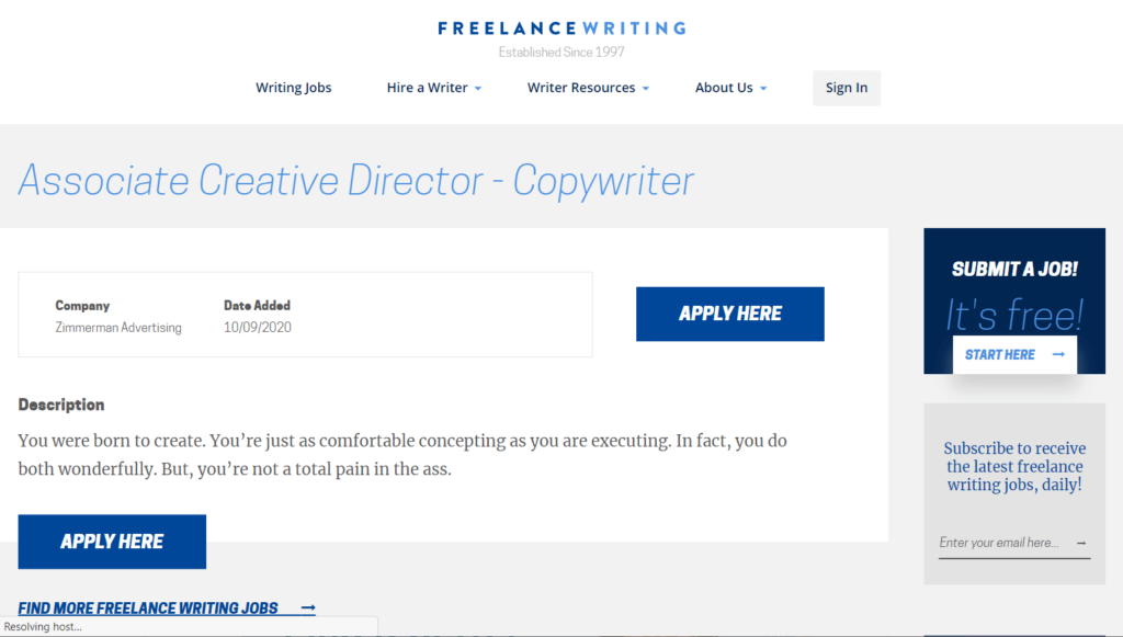 How does a job post on the Freelance Writing website look like?