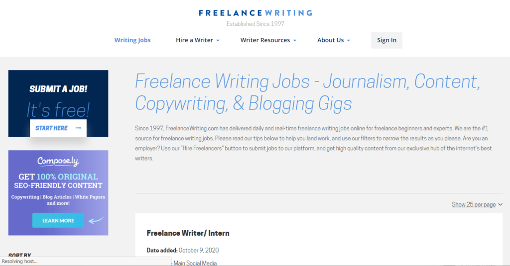What is the Freelance Writing website?