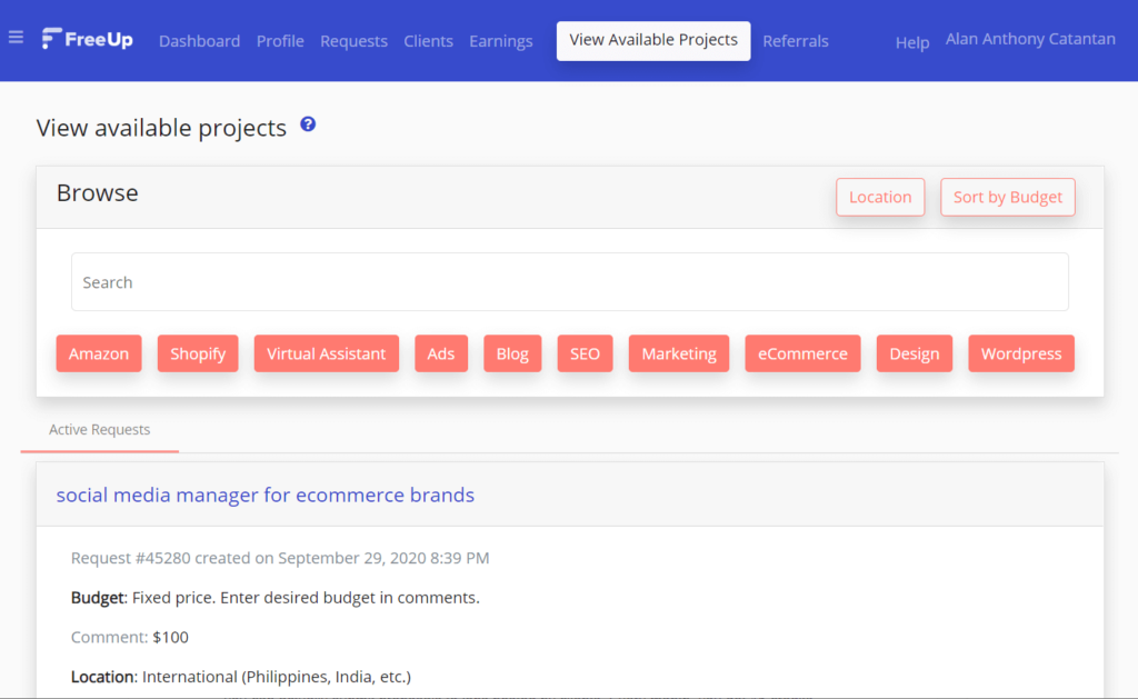 How does the project dashboard look on FreeUp?