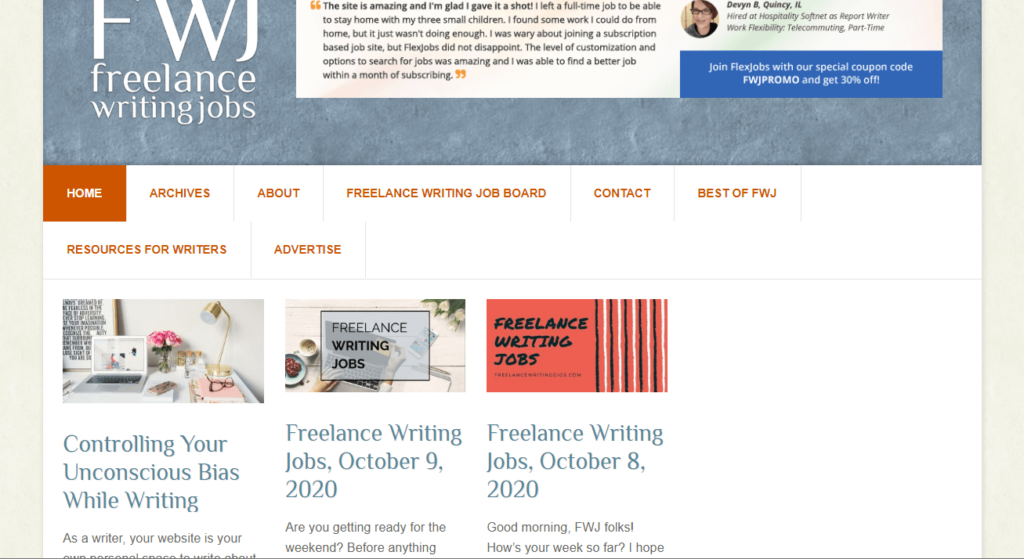 What is the Freelance Writing Jobs website?