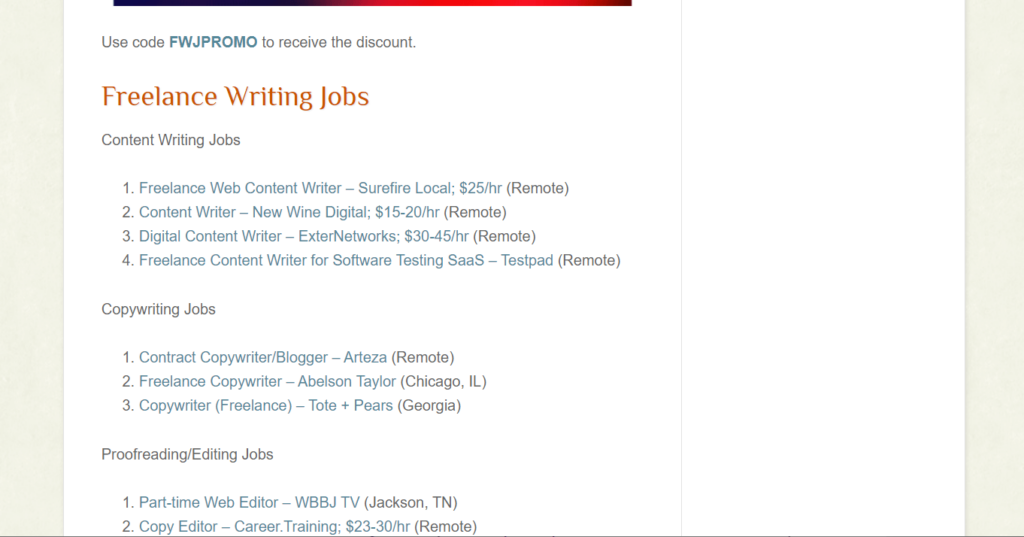 How are the jobs in Freelance Writing Jobs listed?