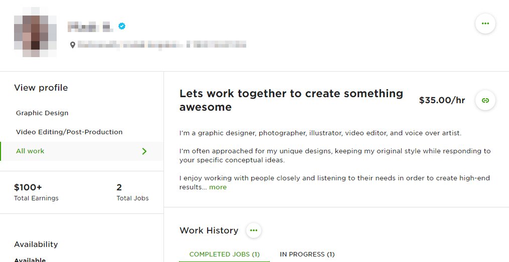 "An Upwork profile with the title ""Let's work together to create something awesome"""