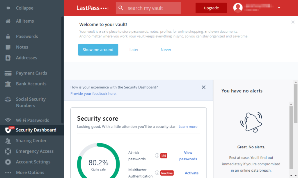 How does LastPass's security dashboard works?