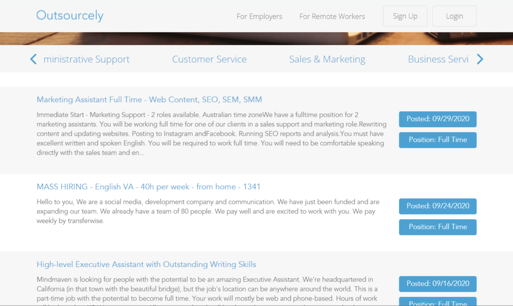 How to find jobs on Outsourcely?