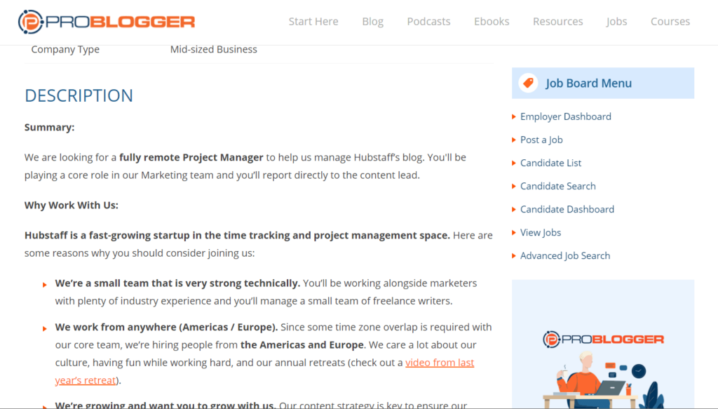 What's inside a ProBlogger job post?