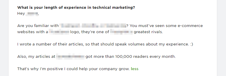 Dropping a big brand name on the cover letter