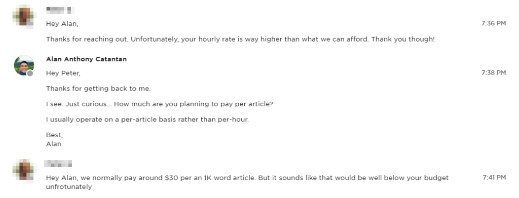 My conversation with a client who had a low budget for his project