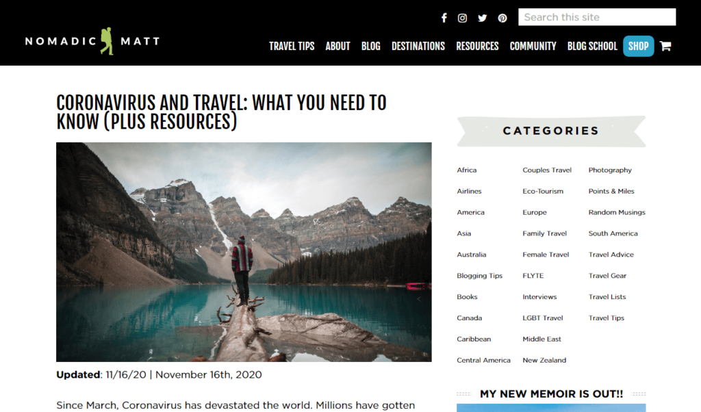 Smart bloggers are still publishing travel content despite the pandemic