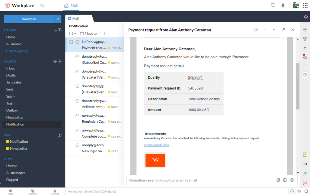 Invoice email through Payoneer