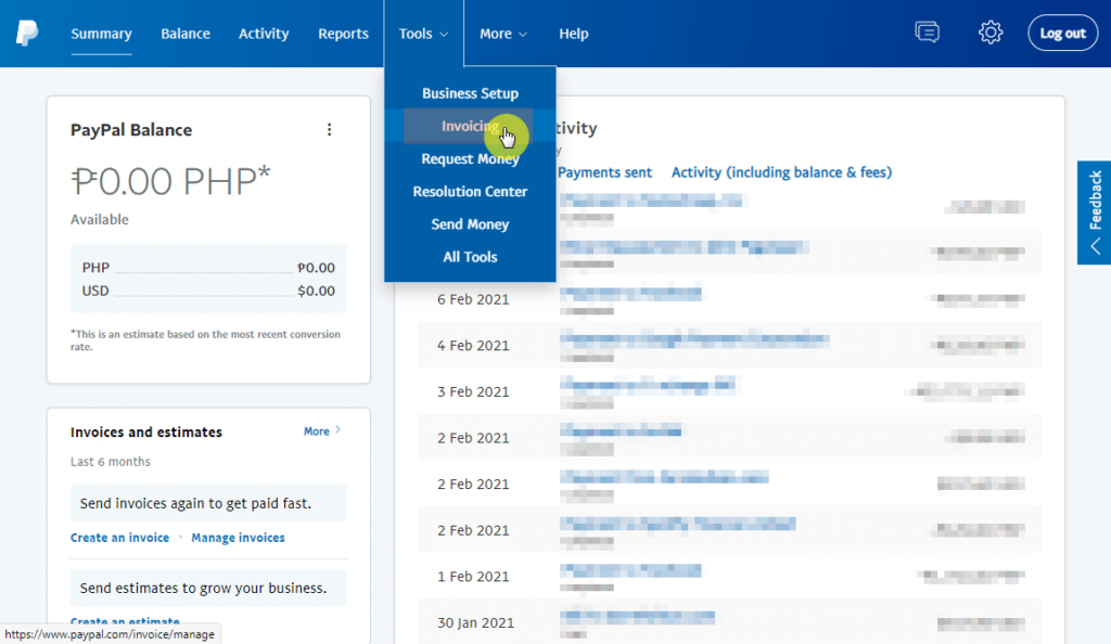 Invoicing tools on PayPal