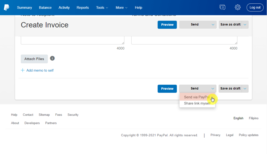 How to send invoice via PayPal