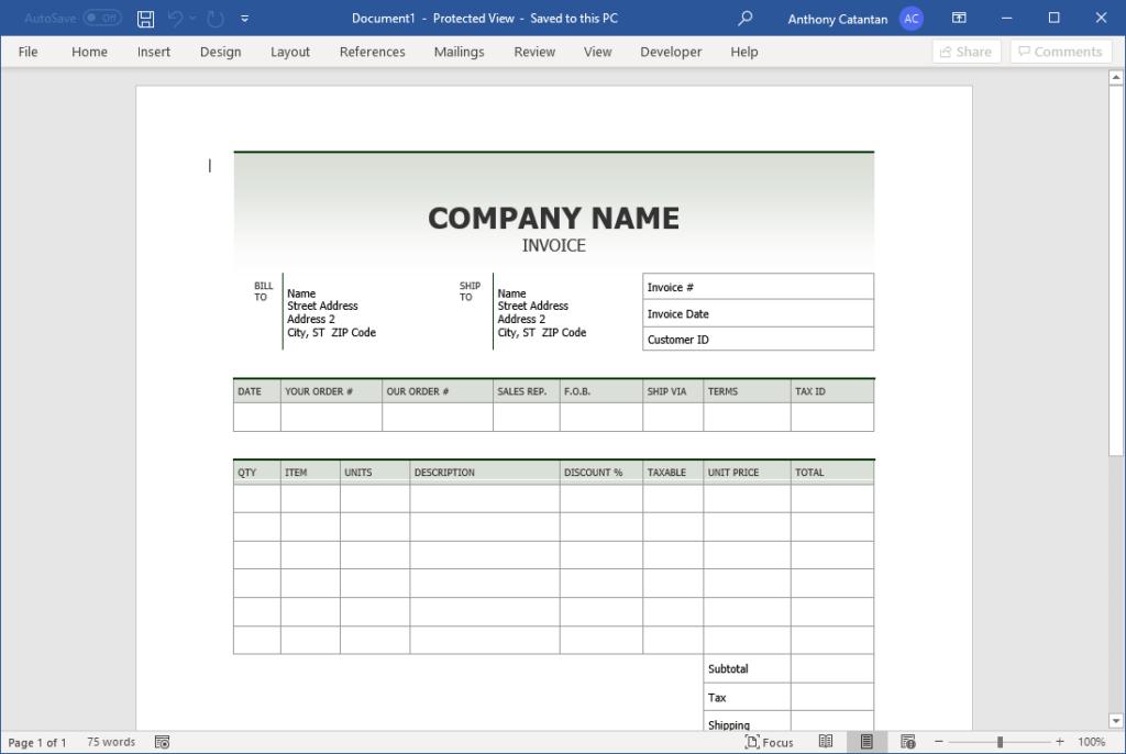 Sales invoice (Simple design) template