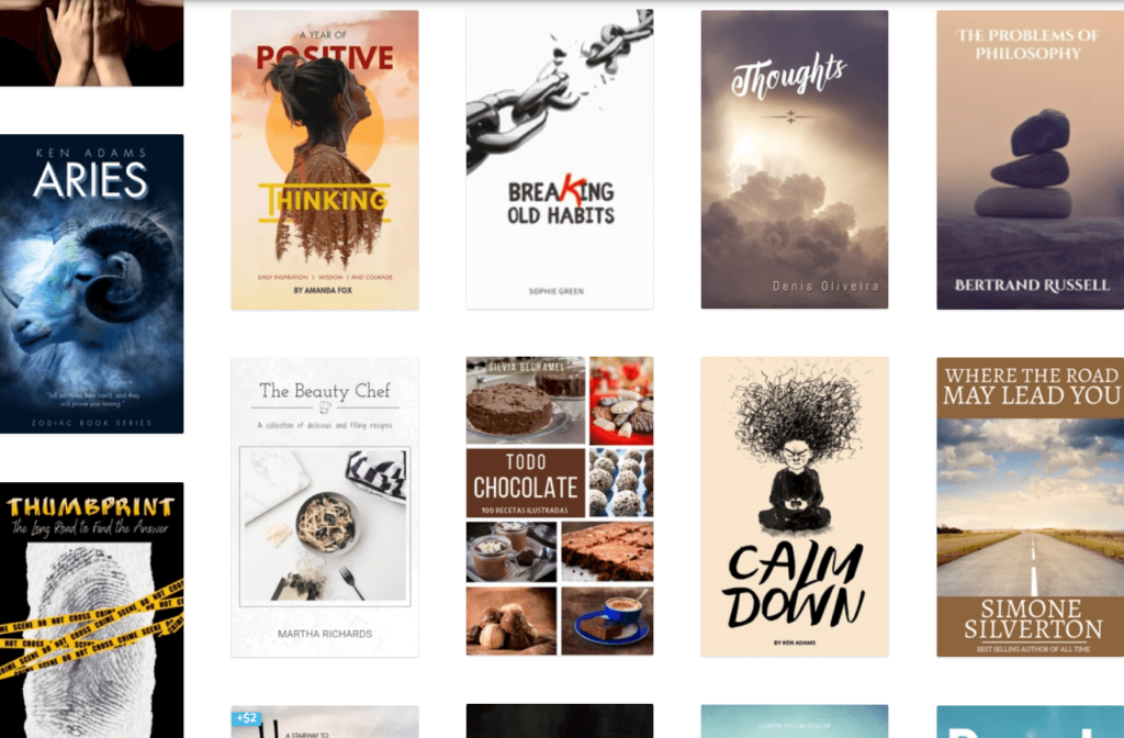 Lots of book cover templates from a popular online design tool called postermywall.