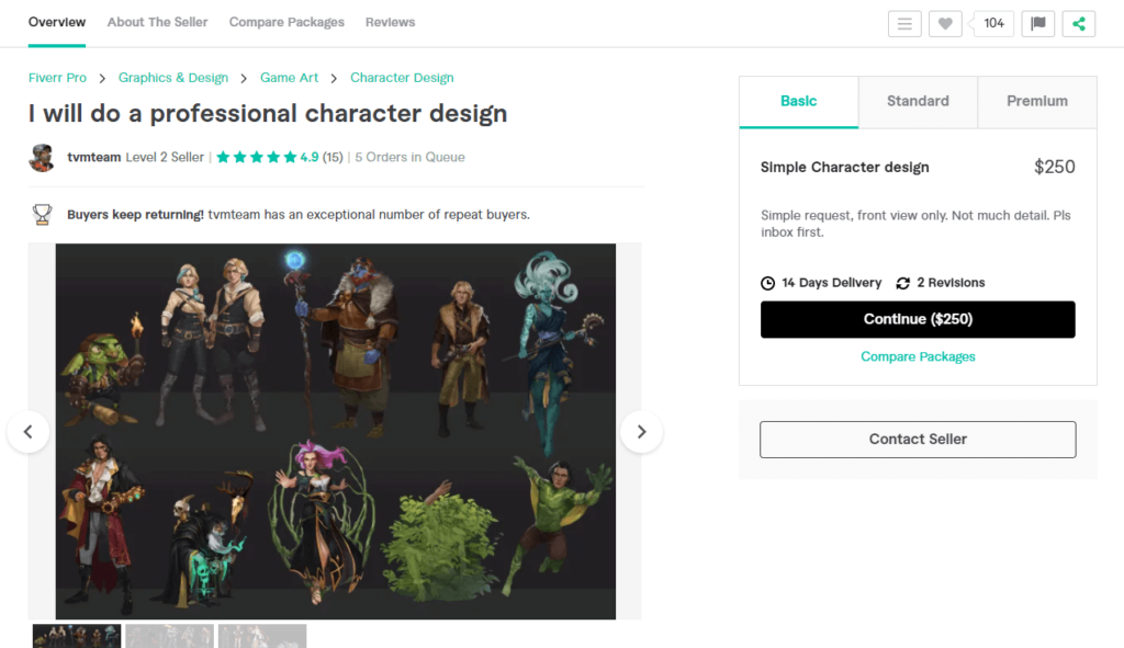 A freelancer on Fiverr that creates character design and game concept art for $110.