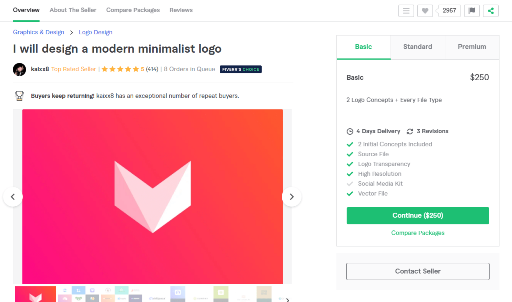 A premium modern minimalist logo designer on Fiverr with a basic package price of $250.