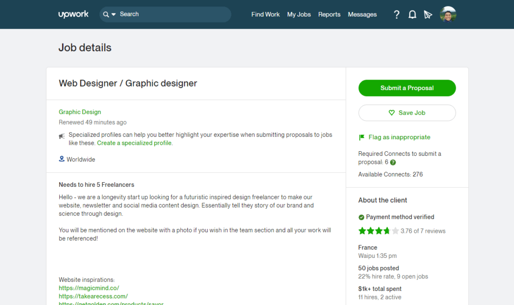 A client in Upwork looking to hire five web designers to tell the story of their brand through design.