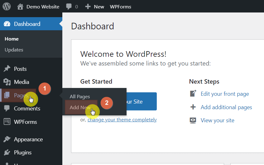 Hover your mouse on the pages link first and click on the add new button