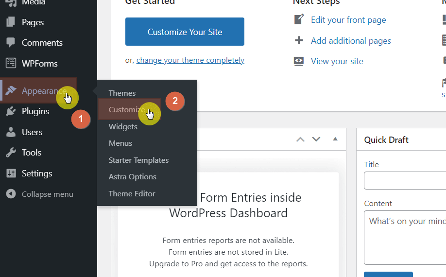"""Hover your mouse over """"Appearance"""" and click """"Customize"""""""
