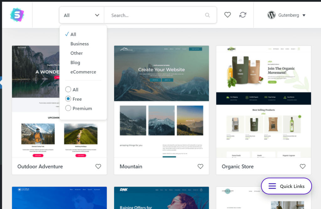 Filter the starter templates by website type, page builder, and price