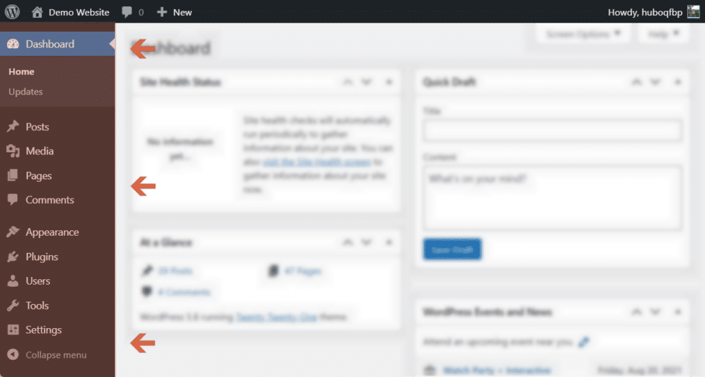 Focus on the left menu of the WordPress dashboard