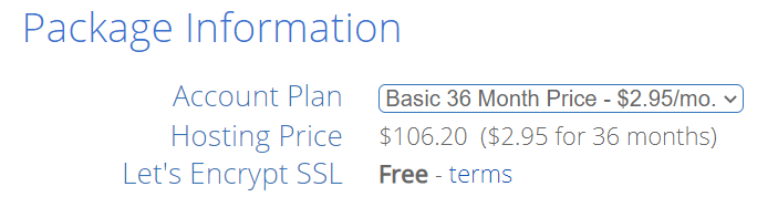 Check the package information for the hosting plan