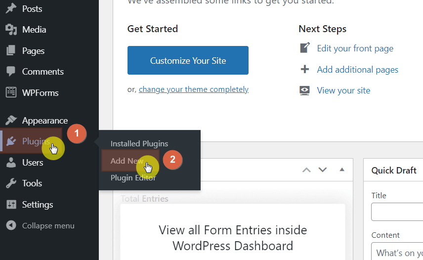 Hover your mouse over plugins first and click add new