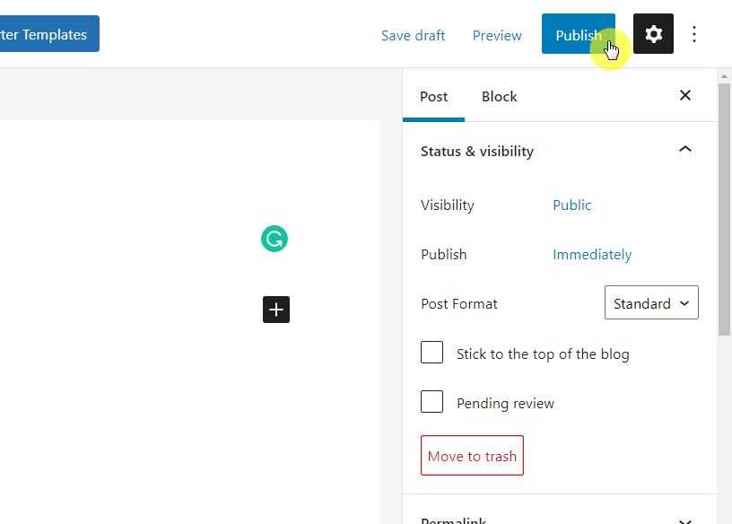 The publish button can be found on the top right corner